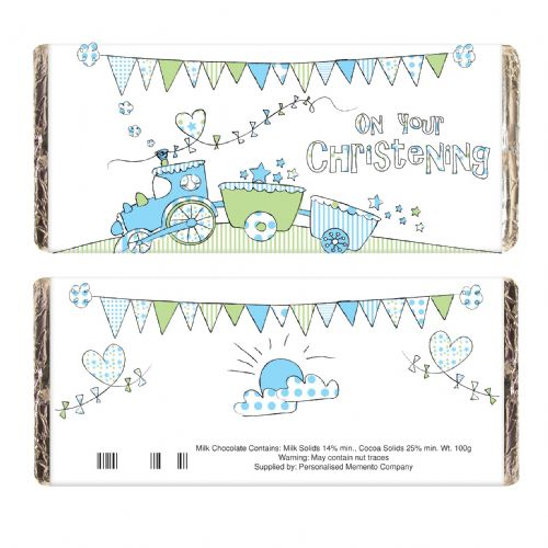 Personalised Whimsical Train Christening Chocolate Bar